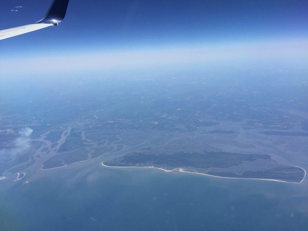 Aussicht aus dem Flugzeug auf die Küste Floridas