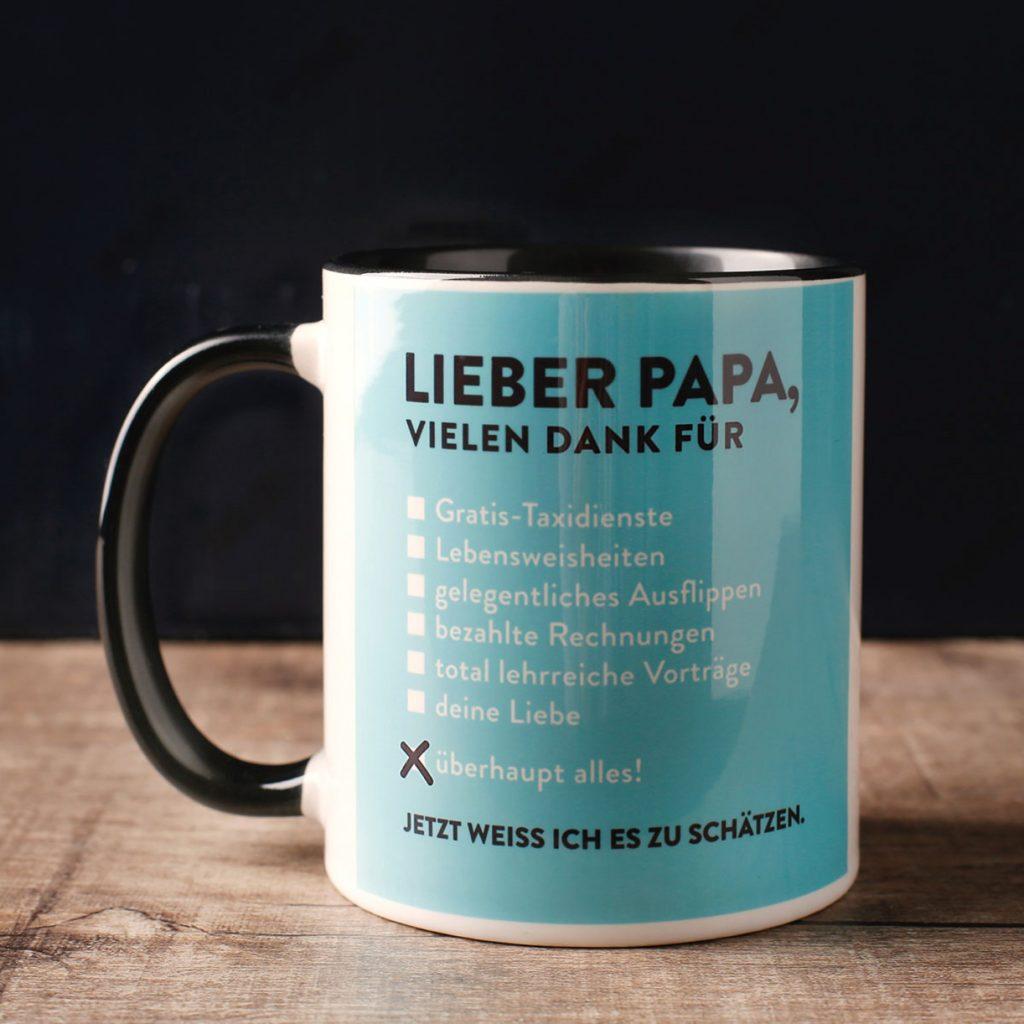 Geschenkidee zum Vatertag: Lieber Papa Tasse von radbag