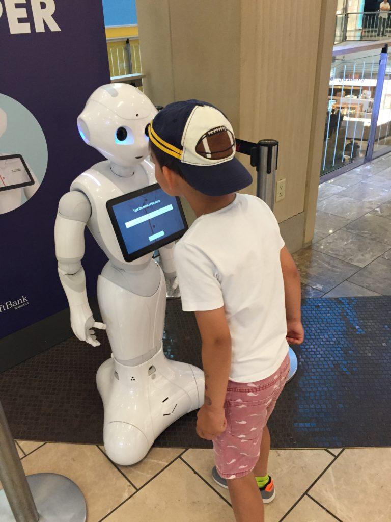 spaß mit einem tanzenden und sprechenden roboter im westfield centre