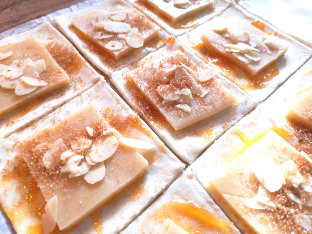 Rezept für Marzipan Blätterteig Taschen
