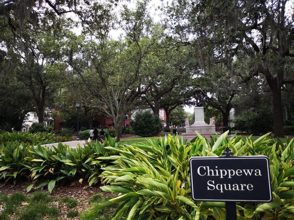 der berühmte chippewa square wo die bank stand, auf der forrest gump saß